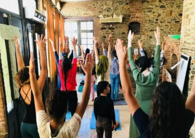 Yoga for women and children in Drop Center, Lesvos